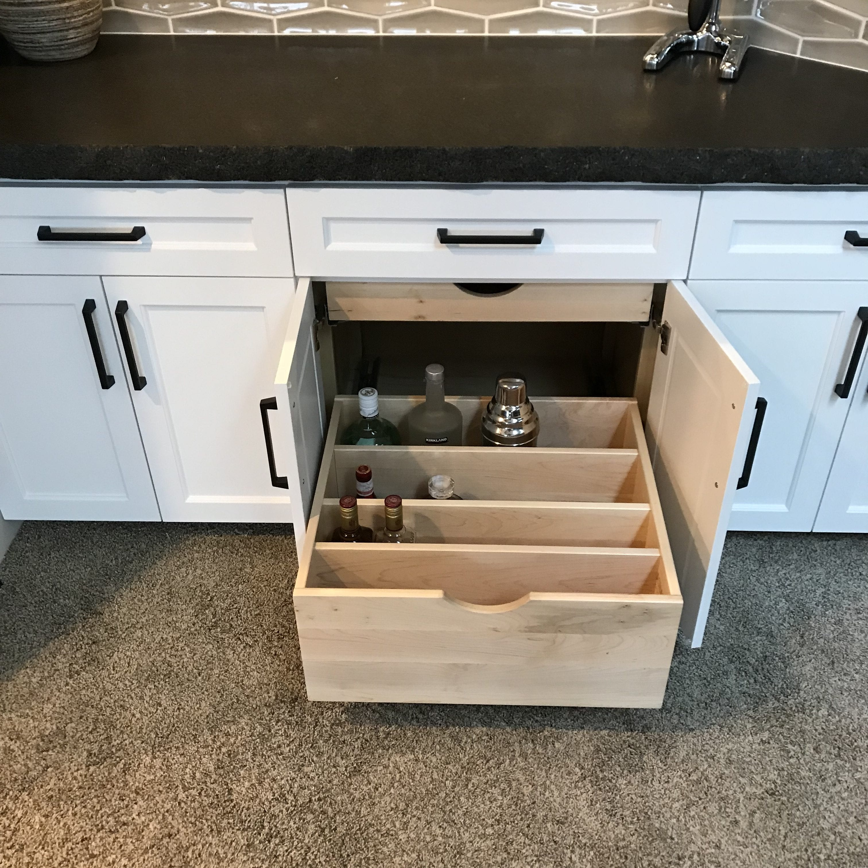 Dry Bar Liqour Pull Out Drawer Kashas Design Build